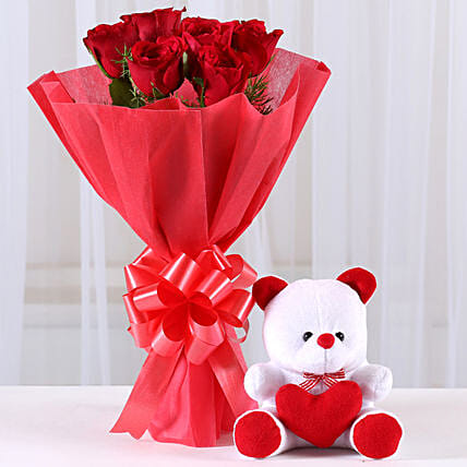 Red Roses Bouquet & Teddy Bear Combo: Send Soft Toys