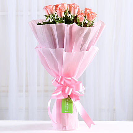 Endearing Pink Roses Bouquet: Send Flowers to Panvel