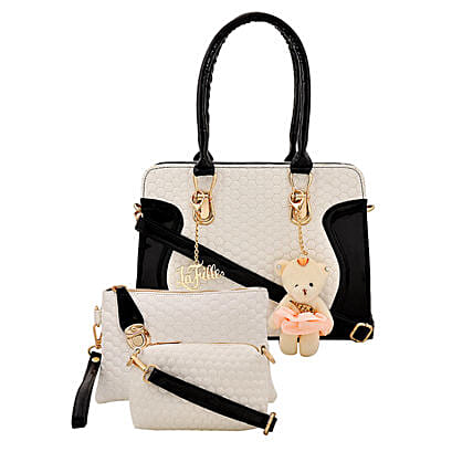 LaFille Teddy Keychain Handbag Set- Black & White: Handbags and Wallets