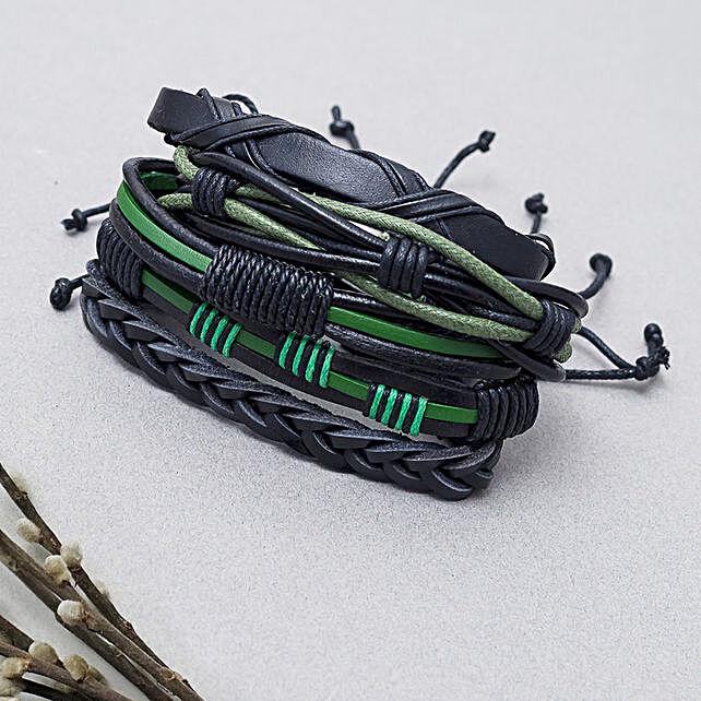 Black Leather Bracelet Set: Send Jewellery Gifts