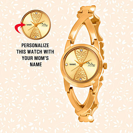 Personalised Shiny Golden Watch: Personalised Gifts for Wife
