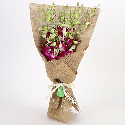 Jute Wrapped 6 Purple Orchids Bunch: