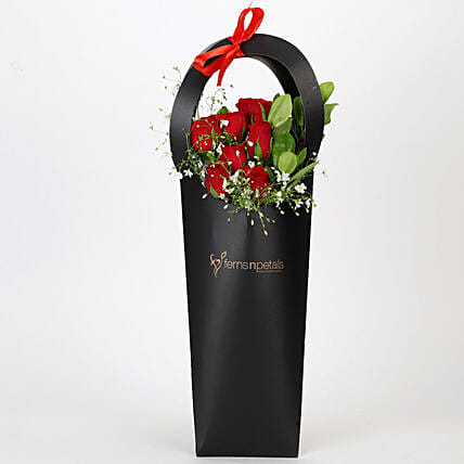 Ravishing Red Roses in Black Sleeve: Roses