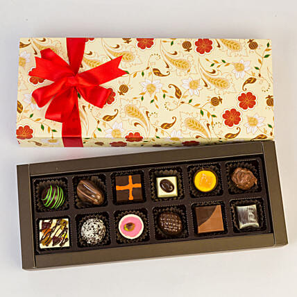 Permium Floral Box Of Chocolates- 12 Pcs: Chocolate Gifts in India
