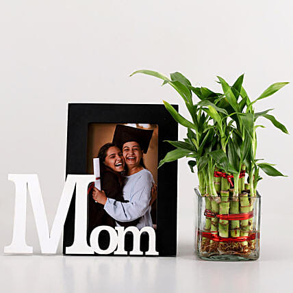 2 Layer Bamboo & Mom Photo Frame Combo: Personalised Gift Combos for Mothers Day