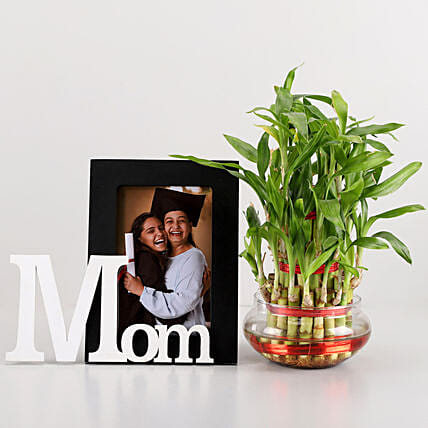 3 Layer Bamboo & Mom Photo Frame Combo: Mothers Day Personalised Gift Combos
