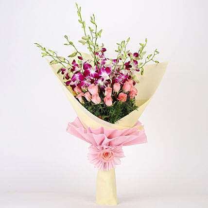 Beautiful Bouquet Of Orchids & Roses: Mixed flowers