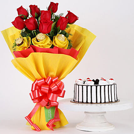 Chocolaty Red Roses & Black Forest Cake Combo: Cakes and Chocolates