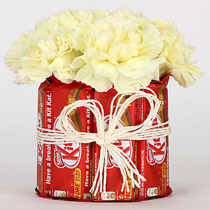 Kit Kat & Yellow Carnations Arrangement: Chocolates Shopping India