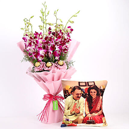 Personalised Cushion & Chocolaty Orchids Bouquet: Mothers Day Personalised Gift Combos