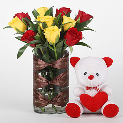Red & Yellow Roses Vase with Teddy Bear Combo: Combo Gifts