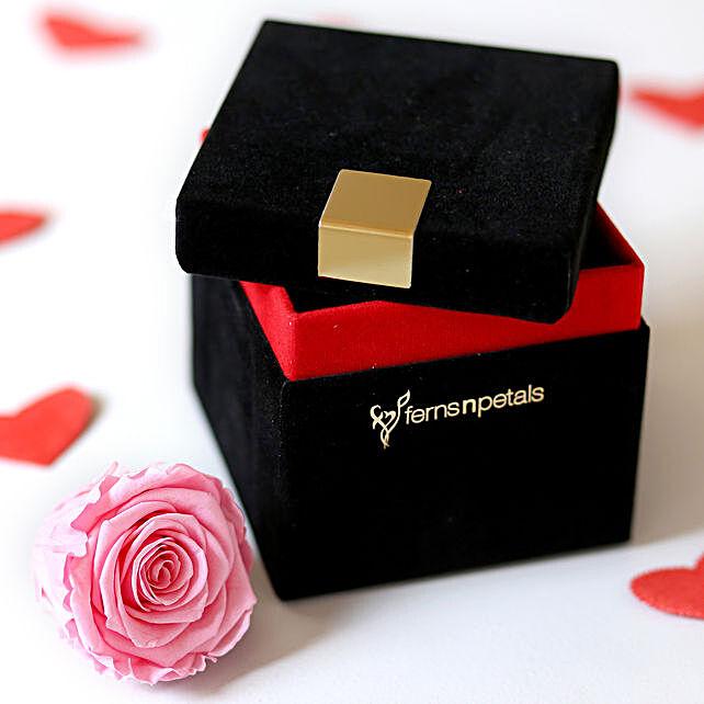 Baby Pink Forever Rose in Velvet Box: Forever Roses