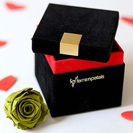 Olive- Emerald Green Forever Rose in Velvet Box: Flowers for Valentines Day