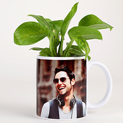 Money Plant In Stylish Personalised Mug-White: Brothers Day Gifts