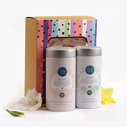 Spoorti & Sukham Green Tea Paradise Combo: Send Fathers Day Gift Hampers