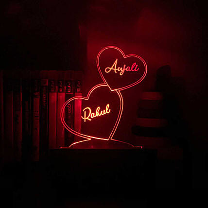 Personalised Hearts Night Lamp For Couple: Personalised Lamps