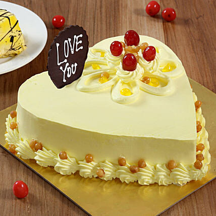 Heart Shaped Butterscotch Cake: Heart Shaped Cakes to Bengaluru