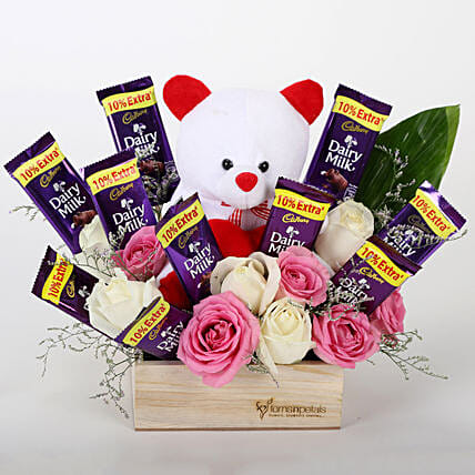 The Perfect Surprise Combo- Pink & White Roses: Soft toys Delivery for Bhai Dooj