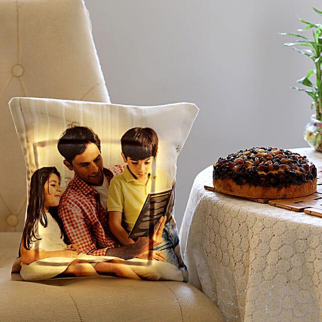 Dry Cake & Personalised LED Cushion Combo: Cake Combos
