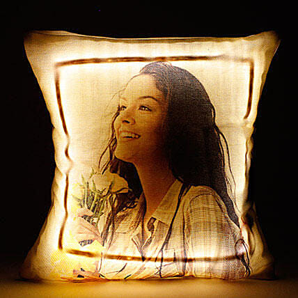 Personalised Cool Yellow LED Cushion: Birthday Personalised Gifts
