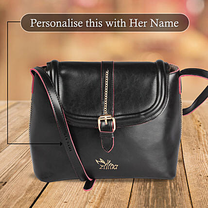 Trendy Classic Black Sling Bag: Personalised Handbags and Wallets