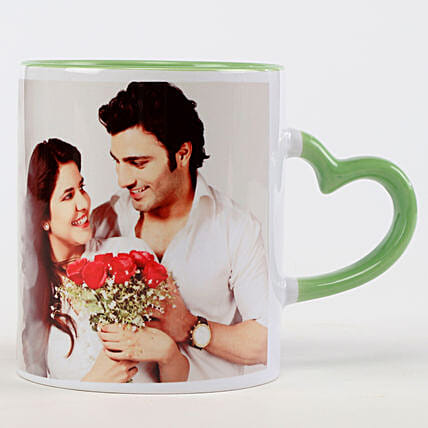 Personalised Green Heart Shaped Handle Mug: Valentine Personalised Mugs