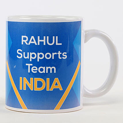 Personalised Support Team India Blue Mug: Cricket World Cup Gifts