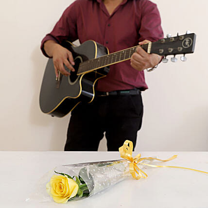 Single Yellow Rose Musical Combo: Send Flowers & Guitarist Service