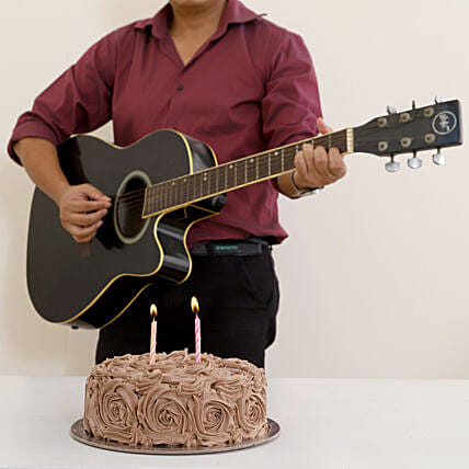 Melodious Combo With Chocolaty Rose Cake: Gifts N Guitarist Service