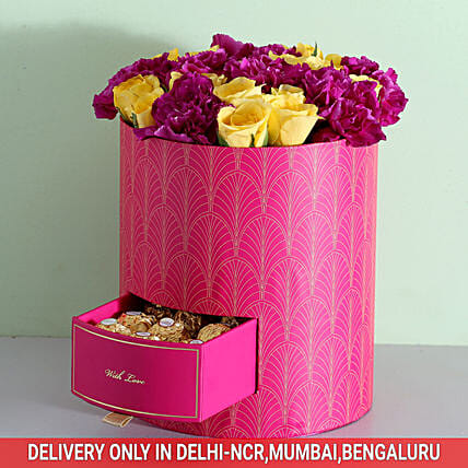 Box Of Roses & Carnations With Chocolates: Ferrero Rocher Chocolates