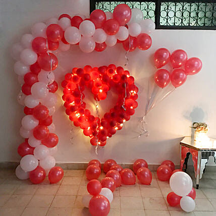 Glowing Red & White Balloon Decor: Balloon