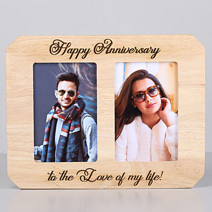 Happy Anniversary One Personalised Wooden Photo Frame: Send Personalised Photo Frames for Wife