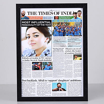 Newspaper Headline Personalised Black Frame: Send Personalised Photo Frames to Chennai