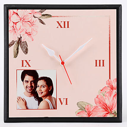 Personalised Floral Print Wall Clock: Personalised Clocks