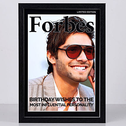 Personalised Forbes Cover Black Frame: Personalised Photo Frames for Him
