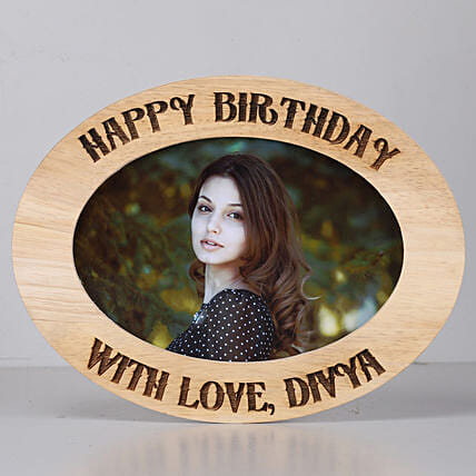 Personalised Oval Photo Frame-Birthday: Send Personalised Photo Frames for Wife