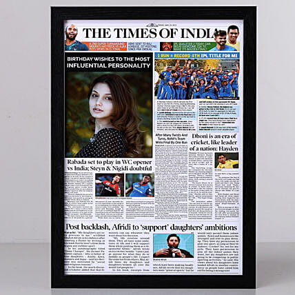 TOI Front Page Personalised Frame-Birthday: Personalised Photo Frames Chennai