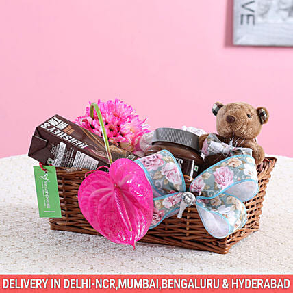 Pink Flowers & Hershey's Gift Basket: Send Womens Day Gift Baskets