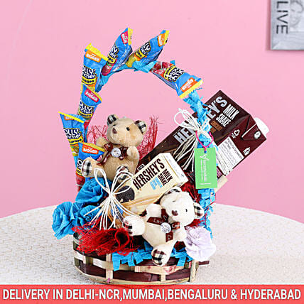 Teddy & Treats Hershey's Gift Basket: Send House Warming Gift Baskets