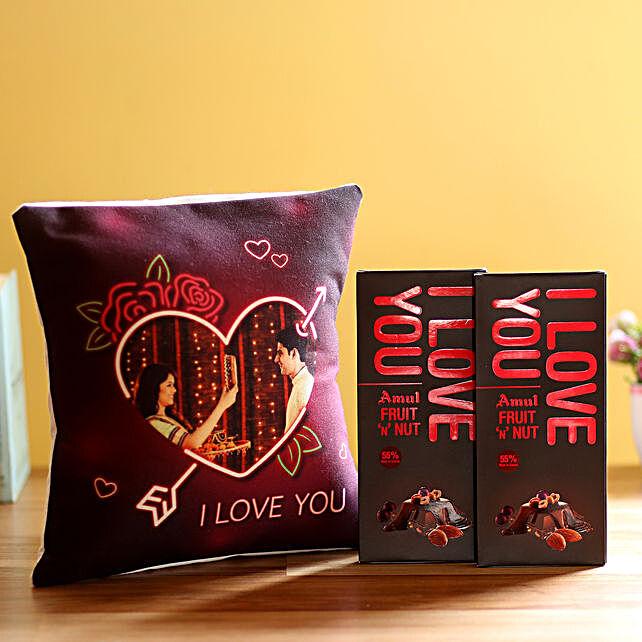 I Love You Cushion & Amul Chocolates Combo:
