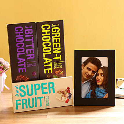 Personalised Photo Frame & Amul Chocolates: Send Personalised Photo Frames - Love