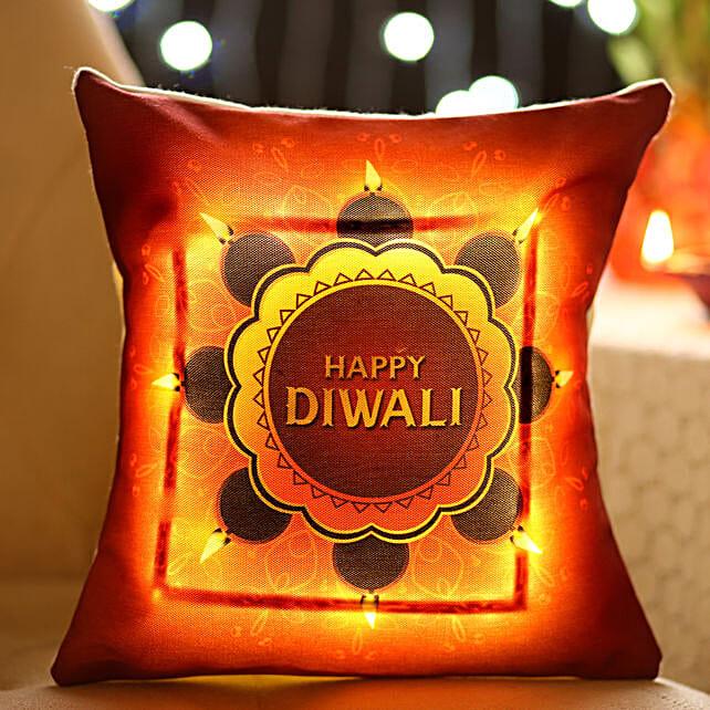 Bright Diwali Wishes LED Cushion: Diwali Cushions