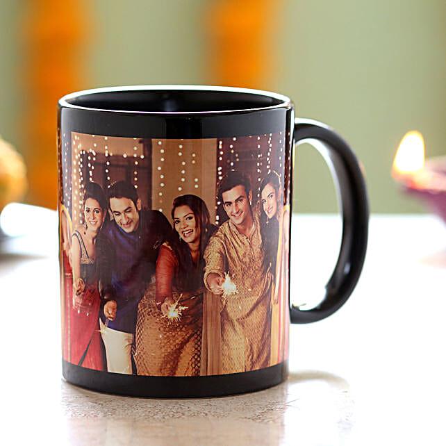 Personalised Happy Family Black Mug: