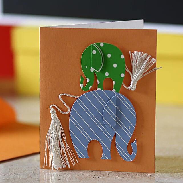 Tassel Tail Elephant Greeting Card: Gifts to Guwahati