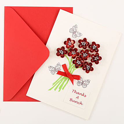 Thank You Red Bouquet Greeting Card: Send Gifts to Patna