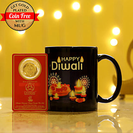 Free Gold Plated Coin With Black Diwali Mug: Diwali Gifts for Boss