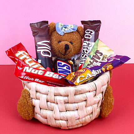 Imported Chocolates Teddy Basket: Gift Hampers