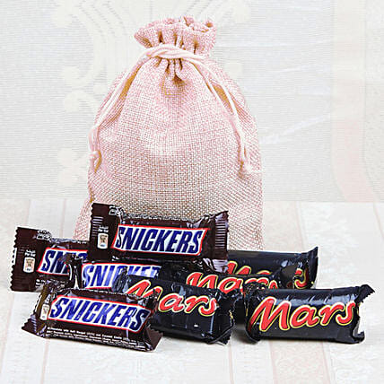 Jute Potli Of Snickers & Mars: Wedding Gifts