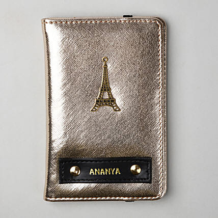 Personalised Metallic Gold Passport Cover: