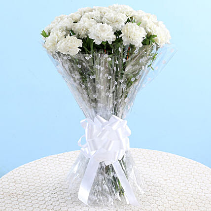 White Carnations Graceful Bouquet: Carnations